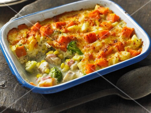Haddock gratin with sweet potatoes and broccoli