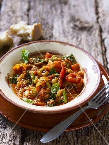 Spiced lentil and bean stew