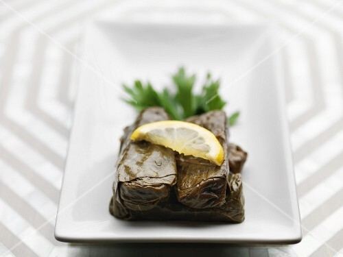 Dolmades with a slice of lemon
