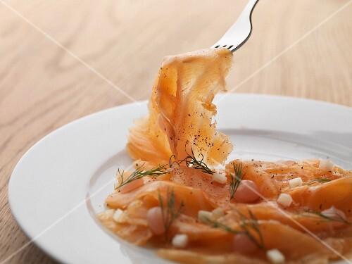 Scottish smoked salmon with dill
