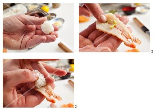 Preparing Salmon Sushi