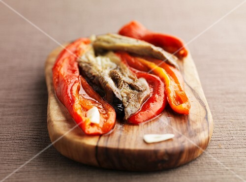 Roasted red pepper and aubergine salad