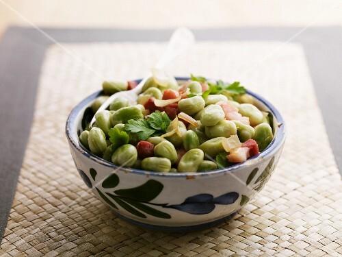 Broad bean and ham