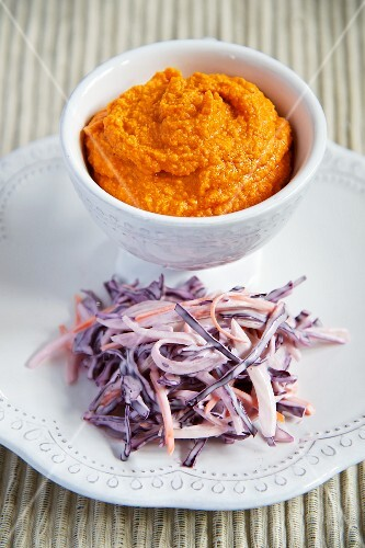 Red pepper and potato mash with purple coleslaw