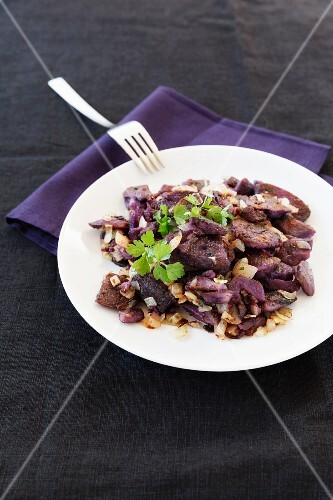 Fried purple potatoes made with Vitelotte potatoes