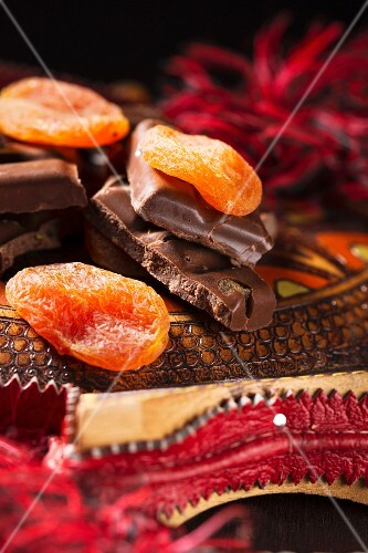 Chocolate with pieces of apricot, decorated with apricots