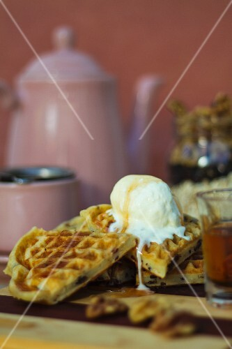 Gluten-free waffles with vanilla ice cream and agave syrup