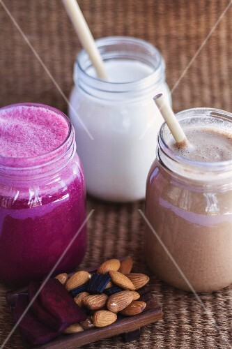 Assorted smoothies (beetroot, cocoa and almond milk)