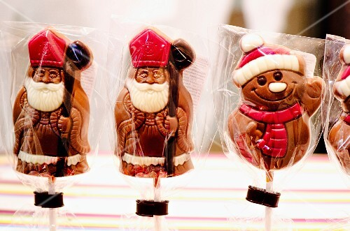 Chocolate lollipops with Father Christmases and snowmen
