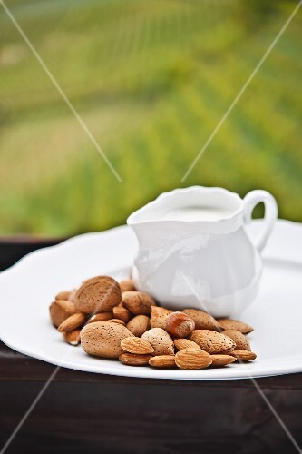 Assorted nuts and a jug of milk on a wooden table