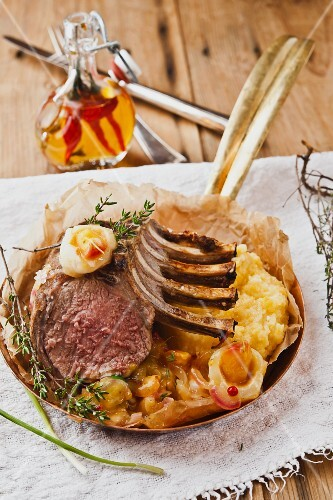 Cooked rack of lamb with chutney and polenta