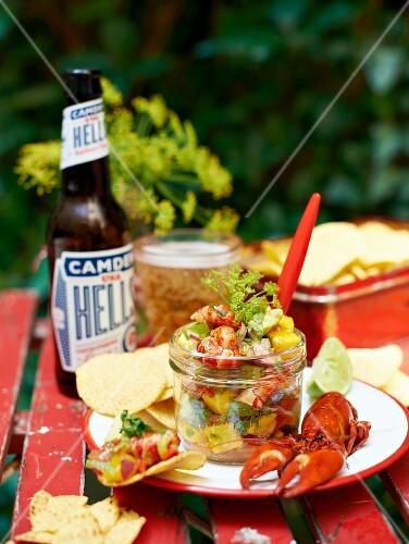 Crayfish ceviche with nachos
