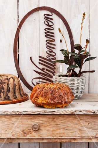 A Bundt cake on a rustic wooden table