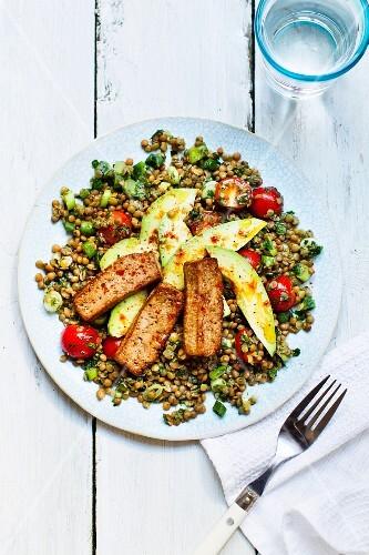 A lentil salad with tofu and avocado