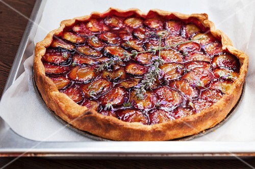 A plum tart with lavender