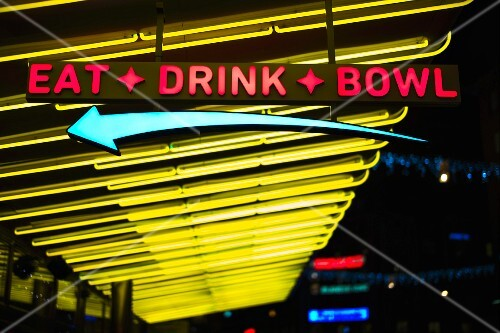 Eat, Drink, Bowl Neon Sign