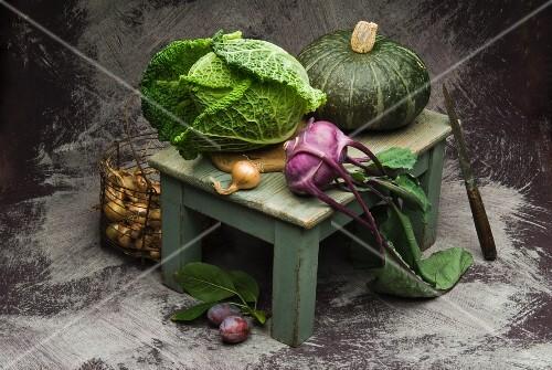 Savoy cabbage, kohlrabi, pumpkin, onions and plums