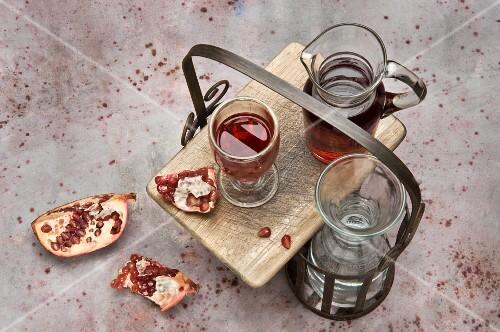 Pomegranate juice and fresh pomegranates