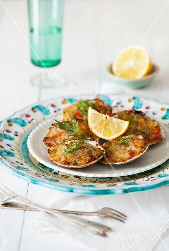 Stuffed baked clams