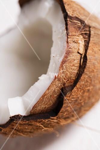 A coconut half (close-up)