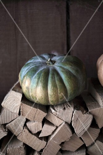 A green pumpkin on a stack or firewood