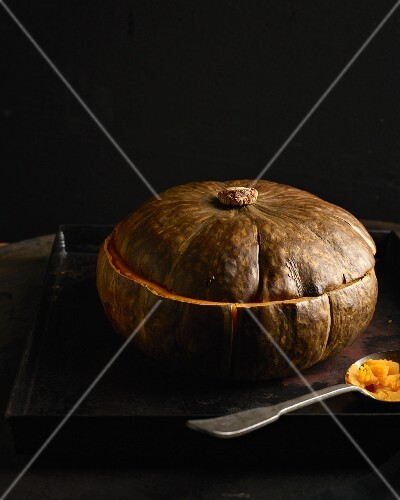 A roasted pumpkin just out the oven