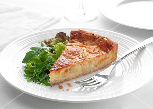 cheese and chive quiche with a rocket salad