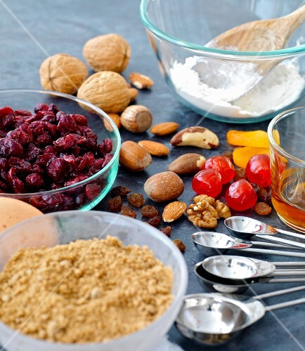 ingredients for fruit and nut cake