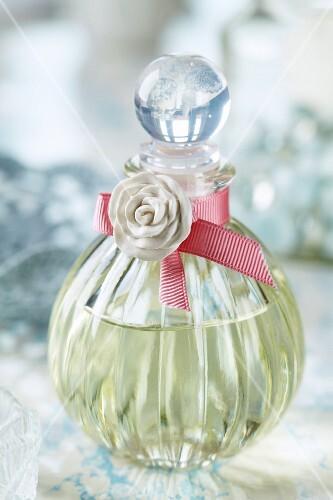 Bath oil in a crystal glass bottle