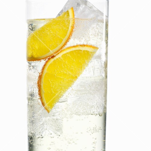 Ice water with orange slices