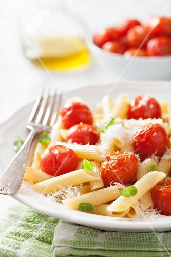 Penne with roasted cherry tomatoes, Parmesan cheese and basil