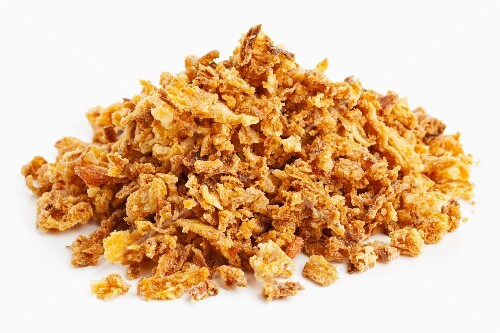 A pile of crispy fried onions