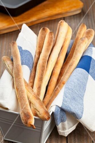 Home-made grissini (Italian breadsticks)