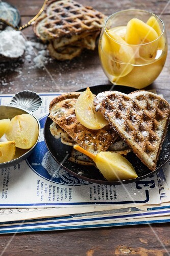 Heart-shaped waffles with poppy seeds and pears