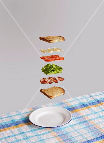 Bacon, lettuce and tomato sandwich deconstructed