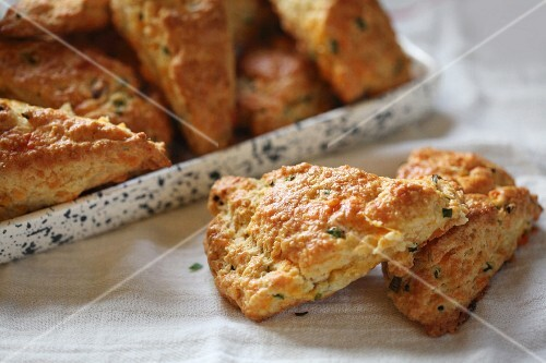 Freshly baked cheddar chive scones