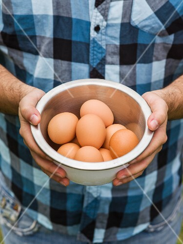 Hands holding a modern bowl of brown eggs with a blue plaid shirt in the background