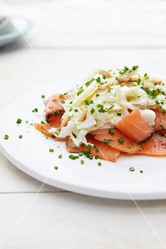 Smoked salmon with Waldorf salad