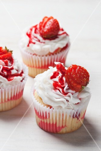 Three marble strawberry cupcakes