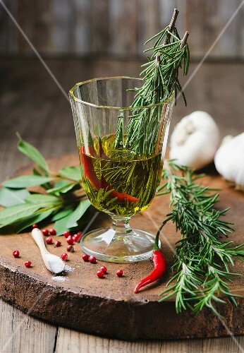Ingredients for rosemary marinade