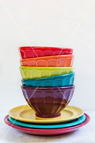 A stack of colourful bowls