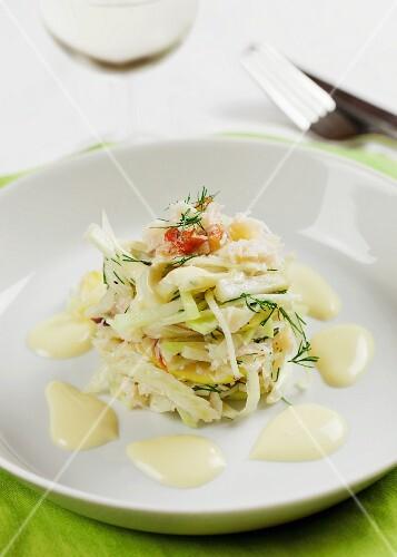 Kohlrabi salad with crab, apple and mayonnaise