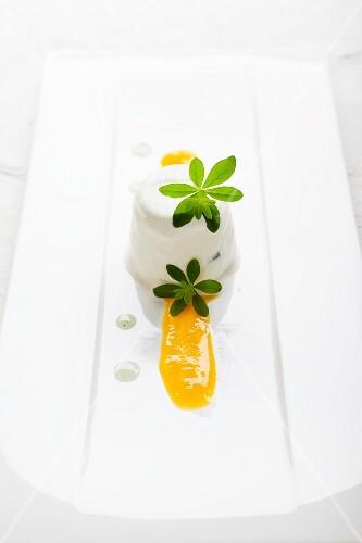 Panna cotta with woodruff and orange juice