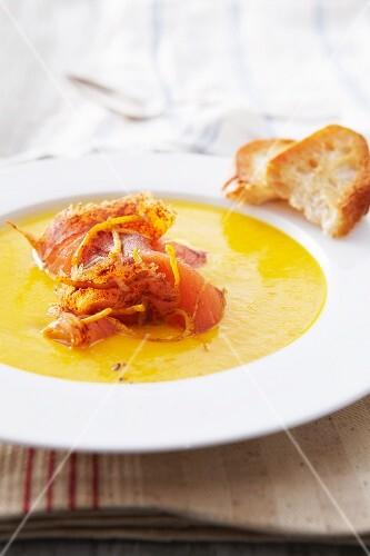 Pumpkin soup with smoked salmon