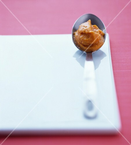 A spoonful of sweet potato pur