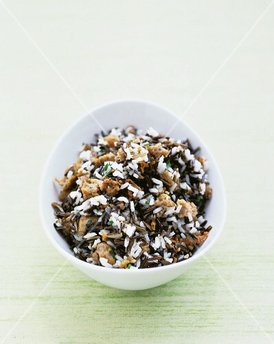 A bowl of wild rice and sausage stuffing