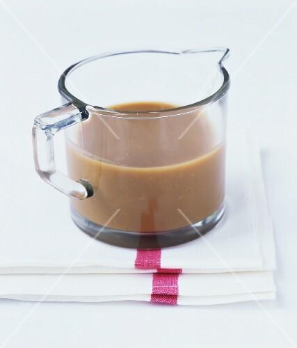 Gravy in a glass jug