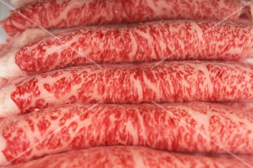 Kobe beef steak, sliced wafer thin