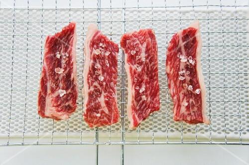 Wagyu steaks with coarse salt