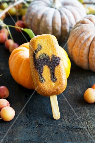 A biscuit on a stick for Halloween